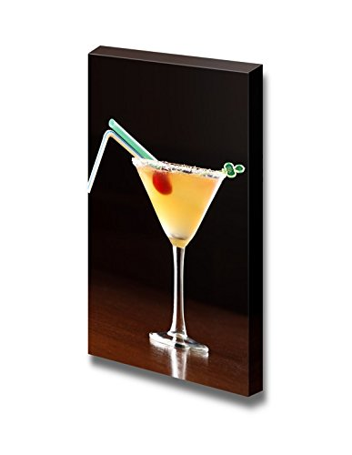 Yellow Alcoholic Cocktail with 2 Straws Beverage Wine Photograph Wall Decor