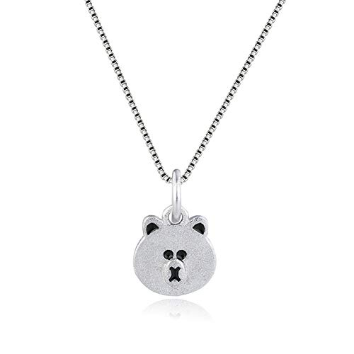 925 Sterling Silver Plated Frosted Cute Teddy Bear Charm Animal Pendant Necklace,Box chain
