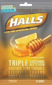 Drops Honey Lemon Lyptus Mentho (Halls Mentho-Lyptus Drops Sugar Free Honey-Lemon - 25 ct, Pack of 4)