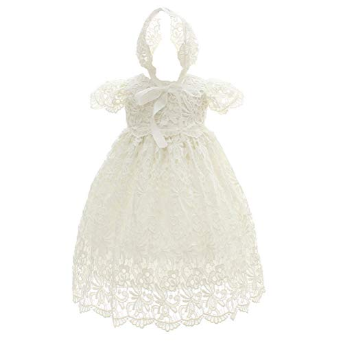 Moon Kitty Baby Girl Special Occasion Dress 2PCS Christening Baptism Gowns Girls Hollow Long Dress,White,6M(6-10Months)