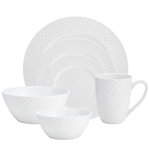 Mikasa Trellis White 36 Piece Dinnerware Set, Service for 6