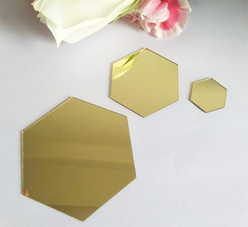 (YongPan 50PCS DIY Hexagon Acrylic Mirror Sticker, Mirrored Sticker Decal,Adhesive Acrylic Mirror Tiles for Scrapbooking,Crafts Making and Home Decoration (Gold, 2