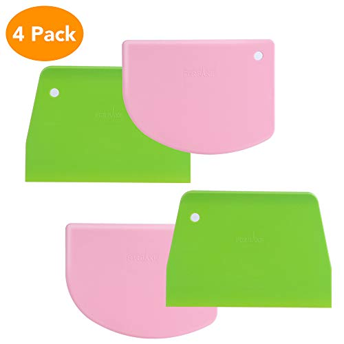 Phoenixee Dough Scraper, Edge Curved & Flat Bowl Scraper, Flexible Bread Scraper, Multipurpose Food Scrappers, Set of 4 Practical Bench Scraper for Bread Dough, Cake Fondant, Icing (Pink and Green)