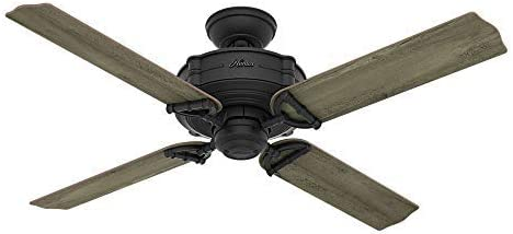 Hunter Indoor Outdoor Ceiling Fan, with remote control – Brunswick 52 inch, Natural Iron, 54181