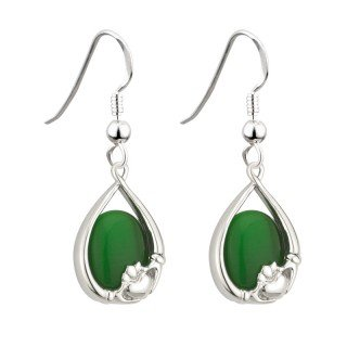 - Irish Claddagh Earrings with Green Cats Eye by Solvar