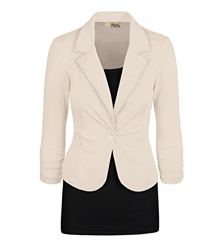 HyBrid & Company Women Double Notch Lapel Office Blazer JK1131X 1073T Ivory 1X by HyBrid & Company