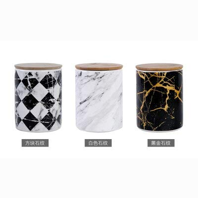 (Nordic ceramic storage tank sealed jar Spice jar Caster with lid marble pattern home decoration decoration ornaments)