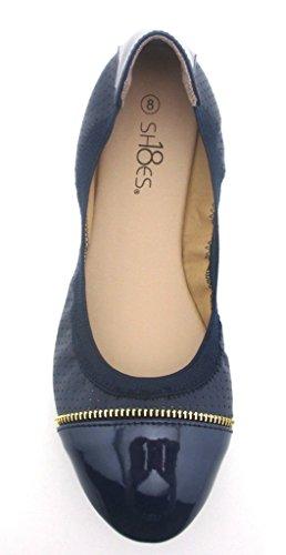 Shoes8teen Sko 18 Kvinners Ballerina Ballett Flate Sko Faste Stoffer Og Leoparder ... Glidelås Marineblå