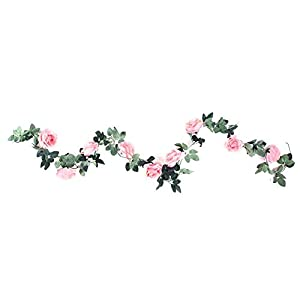 Artificial Rose Flower Fake Silk Plant Garland Vine Hanging Rattan for Home Wedding Decor(2#) 46