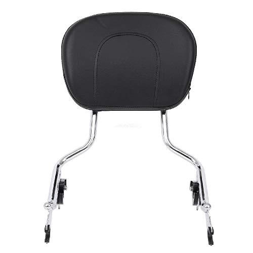 INNOGLOW Chrome Detachable Backrest Sissy Bar Upright Passenger Backrest with Pad for Harley Touring FLHR FLHX FLHT FLTR 09-19 ()