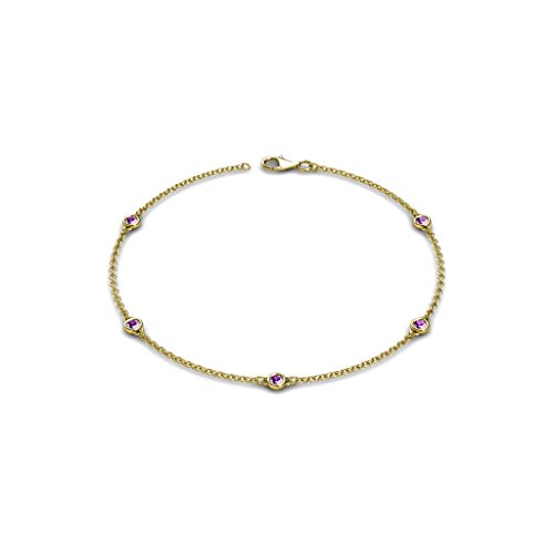 Petite Amethyst Colors on Cable Bracelet 0.28 ct tw in 14K Yellow Gold