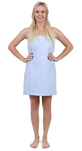Turkuoise Linen Lightweight Knee Length Spa/Bath Waffle Body Wrap with Adjustable Closure ()