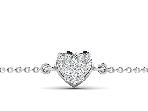 Or Blanc 18 ct Bracelet Diamant en forme de cœur, 0.16 Ct Diamant, GH-SI, 1.86 grammes.