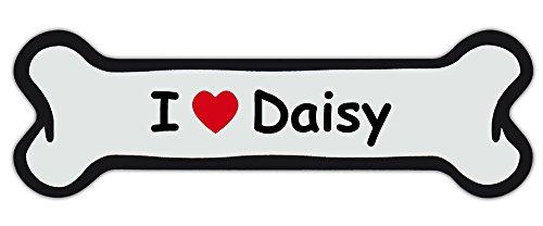 Custom Made Dog Name Bone Car/Refrigerator Magnet - I Love Daisy w/Red Heart - Personalized With Your Dog's Name (Comic Font Style)