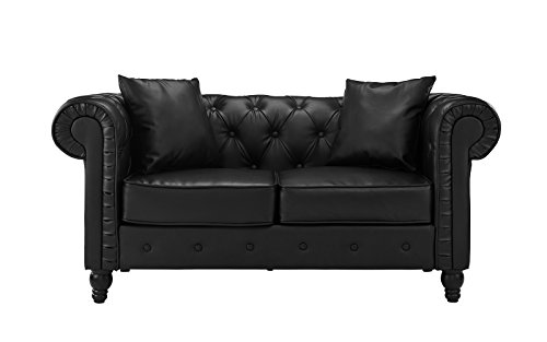 Classic Scroll Arm Tufted Bonded Leather Chesterfield Loveseat (Black)