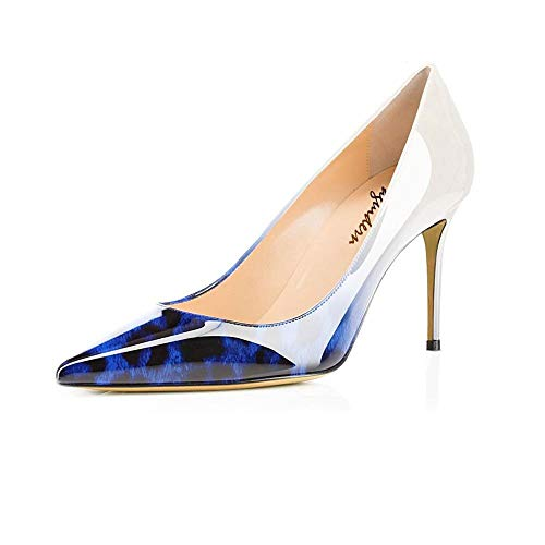 Maguidern Women's Blue Leopard Print Sexy Pointed Toe High Heels, 4 inches Heels Patent Leather Pumps,Wedding Dress Shoes,Cute Evening Stilettos - 9 M US ()