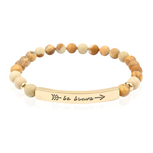 - RIAH FASHION Inspirational Bar Natural Stone Stretch Prayer Bracelet - Christian Religious Message Adjustable Cuff Bangle Amazing Grace/Blessed/Faith/Love/Hope/Bible (Be Brave - Brown Jasper/Gold)