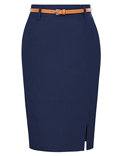 (Women's Vintage Formal Office Bodycon Pencil Skirt Size XL Navy Blue)