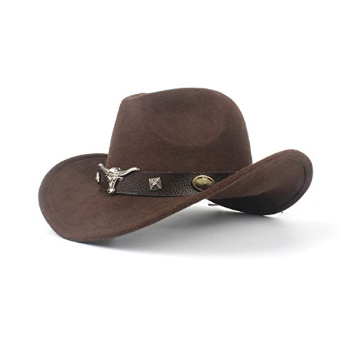MUMUWU Women Men Hondo Cow Fedora Head Belt Wool Western Cowboy Hat Size 56-58CM