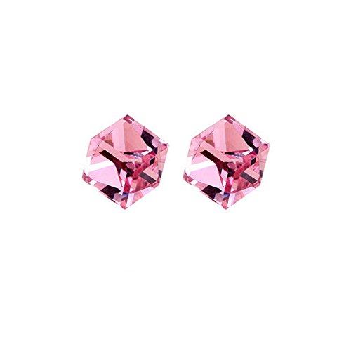- 925 Sterling Silver CZ Baroque Cube Austrian Crystal Drop Hook Stud Earrings Water Cube for Women