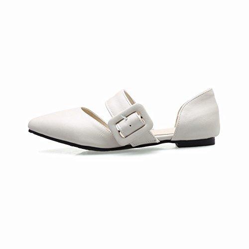 c1b4b51b191d Mee Shoes Damen flach spitz Schnalle Geschlossen Pumps Beige ...