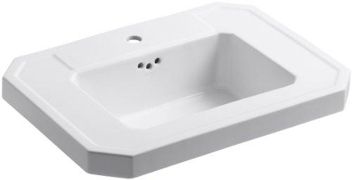 KOHLER K-2323-1-0 Kathryn Bathroom Sink Basin with Single-Hole Faucet Drilling, White