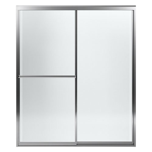 (STERLING 572005-59S-G05 Prevail 59-3/8 Inch x 56-1/2 Inch Framed Sliding Bath Door with ComforTrack Technology, Silver with Smooth/Clear Glass Texture)