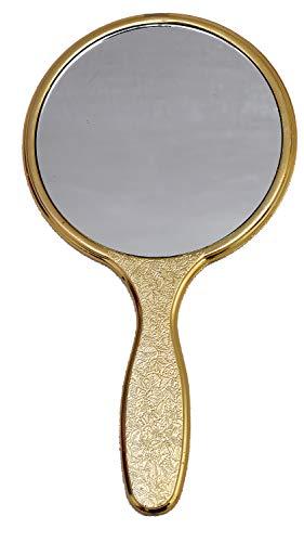 Garden Of Arts Golden Handheld Salon Barbers Hairdressers Mirror with Large Grip Handle