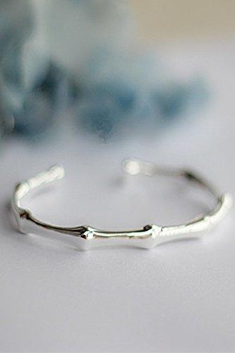 (Women Gift Steadily high Literary sen Women Girls Bamboo Bracelet Bangle Design Girlfriend Valentines Day Gift s925 Silver)