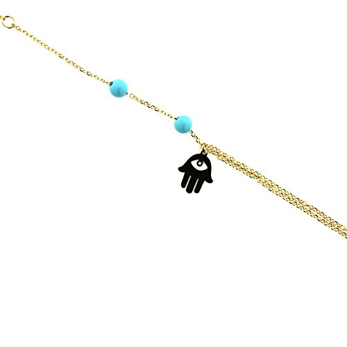 18K Yellow Gold Hamsa Eye hand charm with two Paste Turquoise Beads Doble Chain Bracelet 7 inches with extra ring at 6 inches by Amalia