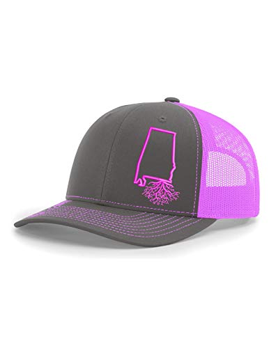 Alabama Charcoal - Wear Your Roots Snapback Trucker Hat (One Size - Adjustable, Alabama Charcoal/Pink Mesh)
