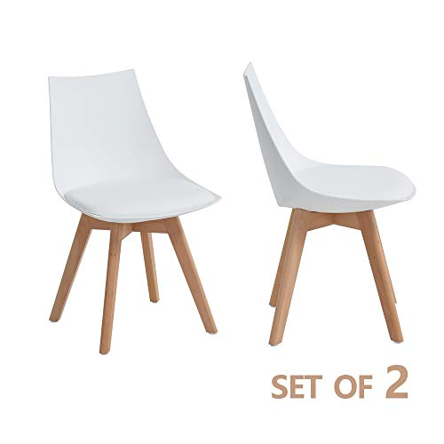 GreenForest Mid-Century Modern Dining Chair Set with PU Leather Padded Seat, Eames Style Kitchen Chair, for Living Room Home Décor with Wood Legs Set of 2, White