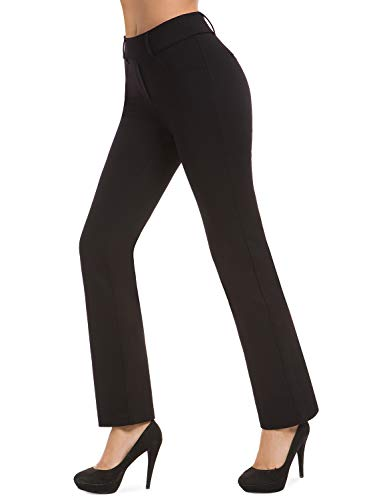 Bamans Pull-on Yoga Dress Pants for Women Mid Rise Bootcut Straight Leg Workout Pants, Office Slacks Work Pants for Women (Black, Large)