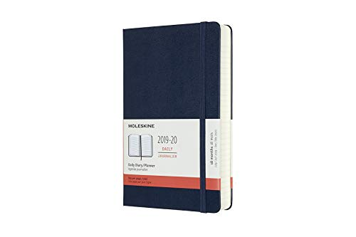 """Moleskine Classic 18 Month 2019-2020 Daily Planner, Hard Cover, Large (5"""" x 8.25"""") Sapphire Blue"""