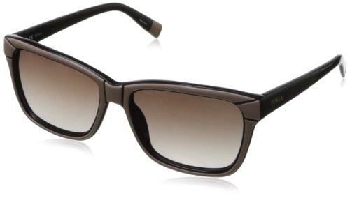 Furla - Lunette de soleil SU4847 Cortina Wayfarer - Femme 5506K5 Beige & black / brown gradient lens