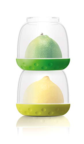 New Soda Stackable Food Storage Containers, Small Foods Saver Pots, Stacking Containers with Lids, Lunch Box, Fruit, Vegetables, Leftovers - Bit Pots (Green/Yellow) ()