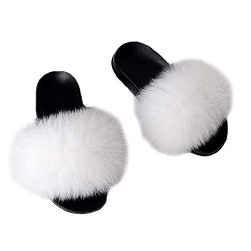 GenePe Invierno cálido Mujeres Zapatillas de Piel Mujer Inferior Plana Antideslizante sólido Fox Pelo resbaladizo...