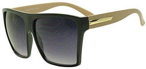Sunglass Stop - Extra Large Square Retro Flat Top Oversized Aviator Sunglasses (Black | Beige , Black )