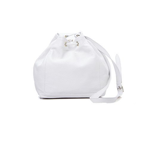 borsa Patrizia Pepe secchiello pellle bianco larg. 30 cm alt. 27 alt.manico 57 cm