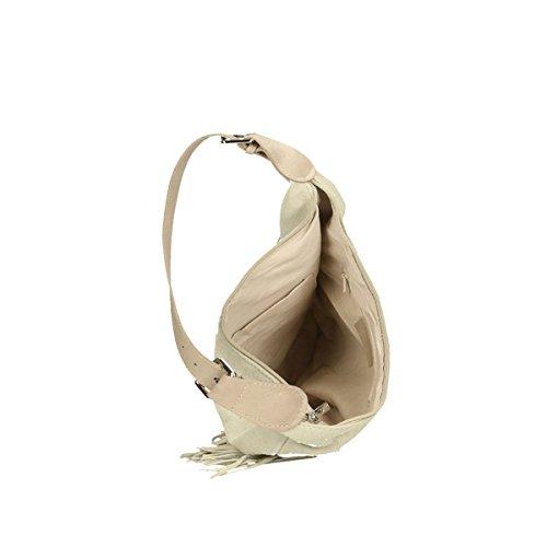 Chicca Borse Piel genuina bolso 40x27x7 Cm Beige