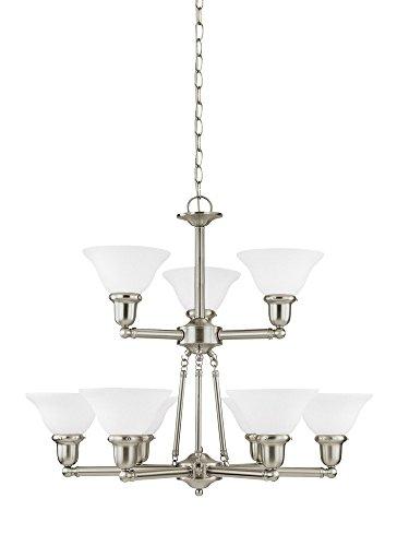 Sussex Nine Light Chandelier - Sea Gull Lighting 31062EN3-962 Sussex Chandelier, 9-Light LED 85.5 Total Watts, Brushed Nickel