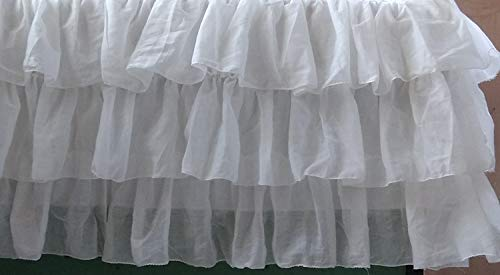 Custom White Voile Layered Tiered Bed Skirt Any Size - detachable option available