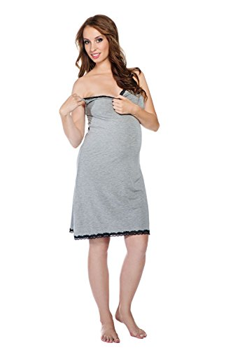 My Tummy Maternité chemise de nuit Cindy gris