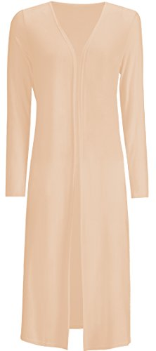 AMGLISE Women's Solid Cotton Essential Long Cascading Open Front Cardigan (M,Apricot) - Elle Jersey Cardigan