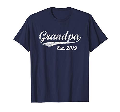 - Mens Vintage Grandpa Est. 2019 New Grandfather T-Shirt