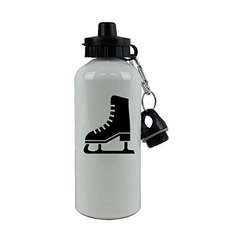 Personalized Custom Ice Skates, Hockey, Figure Skating Aluminum White Finish 20 Ounce 600ML Sport Water Bottle, 2 Lids - Customizable (Black) - Skate Custom