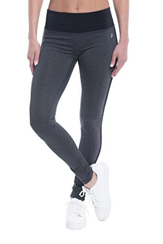 Penn Women's Basic Leggings - Performance Compression Pants, Full Length Spandex Legging - Racer Stripe Charcoal Heather Grey, Medium