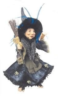 Witches of Pendle - Rosemary Kitchen Witch Hanging or Sitting (Blue) 35cm (Kitchen Witch Hanging)