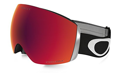 Oakley OO7050-33 Men's Flight Deck Snow Goggles, Black, Prizm Torch Iridium, Large