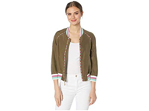 Juicy Couture Women's Washed Silk Track Jacket Washed Army Green Small